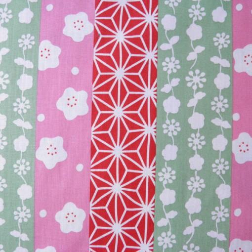 bandes motifs japonais rose rouge