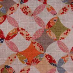 Tissu japonais motifs cercles multicolores sur fond blanc tramé – 20 cm