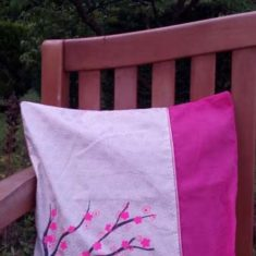 coussin serigraphie rose