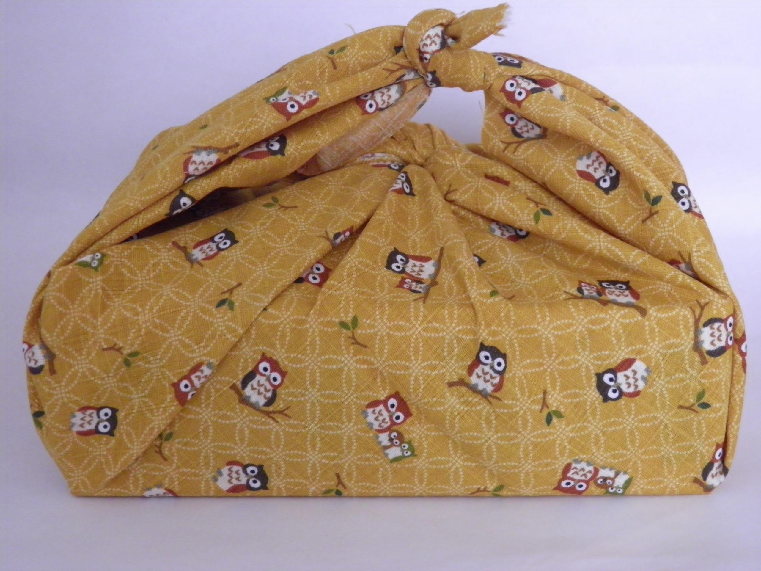 furoshiki emballage tissu hibou