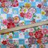 coupon tissu japonais bleu carré