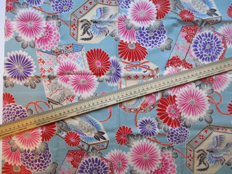 coupon tissu japonais bleu