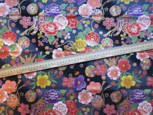 coupon tissu japonais fleurs noir