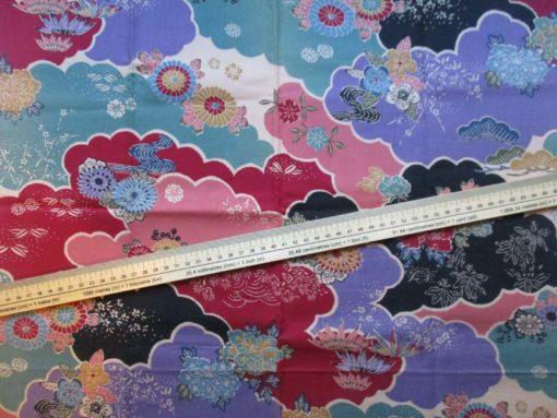 coupon tissu japonais noir violet